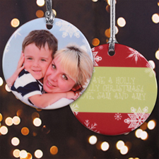 Bright Holiday Personalized Photo Porcelain Ornament