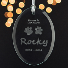 Personalized Laser Etched Paw Prints On Our Heart Glass Ornament