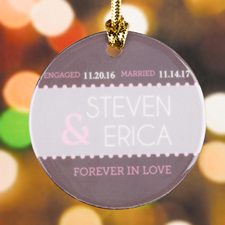 Personalized Forever In Love Round Porcelain Ornament