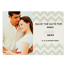 Personalized Silver Glitter Chevron Save The Date Invitation Cards