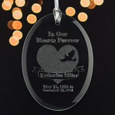 Personalized Laser Etched In Our Hearts Forever Glass Ornament