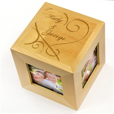 Engraved Heart Felt Wood Photo Cube