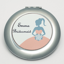 Personalized Bridesmaids, Carol Round Make Up Mirror
