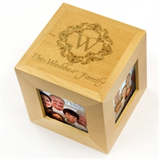 Engraved Come Together Wood Photo Cube