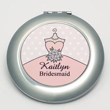 Personalized Bride, Pink Polka Dot Round Make Up Mirror