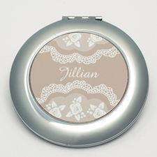 Personalized Elegant Lace Round Make Up Mirror