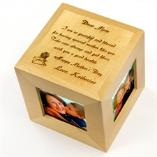 Engraved Dear Mom Wood Photo Cube