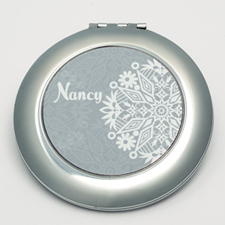 Personalized White Floral Round Make Up Mirror