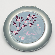 Personalized Flourish Round Make Up Mirror