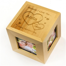 Engraved Two Hearts Forever Wood Photo Cube