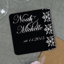 Floral Pattern Personalized Wedding Cork Coaster Black