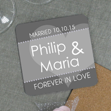Forever In Love Personalized Wedding Cork Coaster Grey