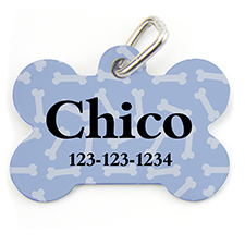Blue Bone Pattern, Bone Shape Personalized Dog Tag