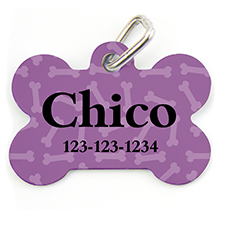 Lavender Bone Pattern, Bone Shape Personalized Dog Tag
