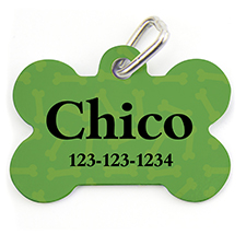 Green Bone Pattern, Bone Shape Personalized Dog Tag