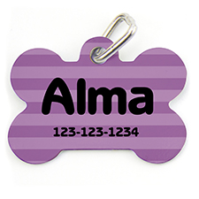 Lavender Stripe, Bone Shape Personalized Dog Tag