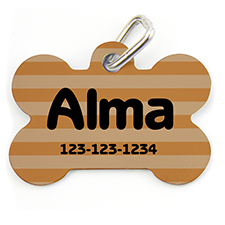 Orange Stripe, Bone Shape Personalized Dog Tag