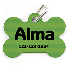 Green Stripe, Bone Shape Personalized Dog Tag