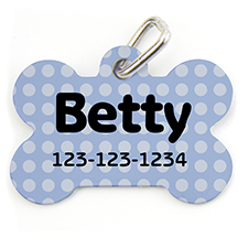 Blue Polka Dot, Bone Shape Personalized Dog Tag