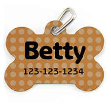 Orange Polka Dot, Bone Shape Personalized Dog Tag