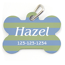 Lime Blue Stripe, Bone Shape Personalized Dog Tag