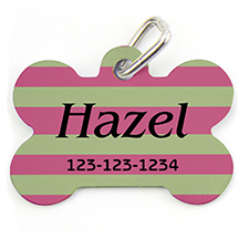 Lime Fuchsia Stripe, Bone Shape Personalized Dog Tag