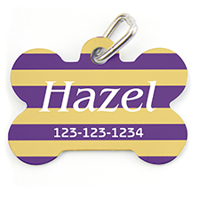 Lavender Yellow Stripe, Bone Shape Personalized Dog Tag