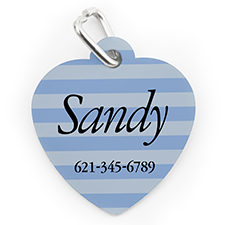 Custom Printed Blue Stripe, Heart Shape Dog Or Cat Tag