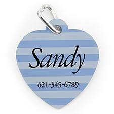 Custom Printed Blue Stripe, Heart Shape Dog Or Cat Tag