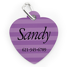 Custom Printed Lavender Stripe, Heart Shape Dog Or Cat Tag