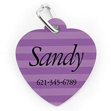 Custom Printed Lavender Stripe, Heart Shape Dog Or Cat Tag
