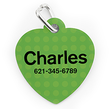 Custom Printed Green Polka Dot, Heart Shape Dog Or Cat Tag