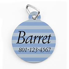 Custom Printed Blue Stripe, Round Shape Dog Or Cat Tag
