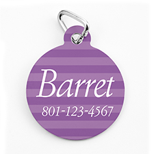Custom Printed Lavender Stripe, Round Shape Dog Or Cat Tag