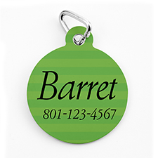 Custom Printed Green Stripe, Round Shape Dog Or Cat Tag