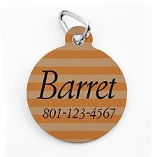 Custom Printed Orange Stripe, Round Shape Dog Or Cat Tag