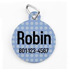 Custom Printed Blue Polka Dot, Round Shape Dog Or Cat Tag
