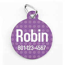 Custom Printed Lavender Polka Dot, Round Shape Dog Or Cat Tag