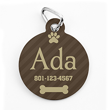 Custom Printed Coffee Stripe, Round Shape Dog Or Cat Tag