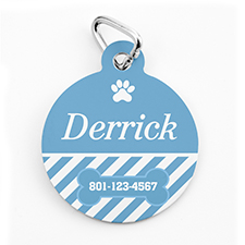 Custom Printed Aqua Stripe, Round Shape Dog Or Cat Tag