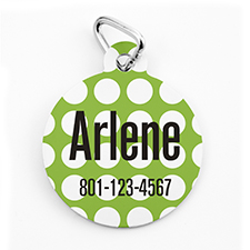 Custom Printed Lime Dots, Round Shape Dog Or Cat Tag