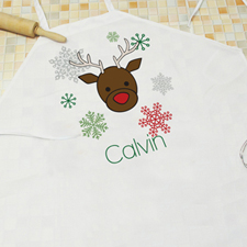 Playful Reindeer Personalized Boy Apron