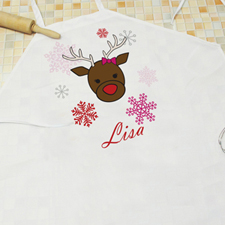Playful Reindeer Personalized Girl Apron