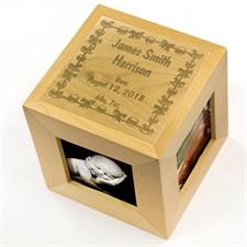 Engraved Welcomed Wonder Wood Photo Cube