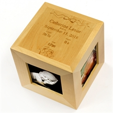 Engraved Diamond Shine Girl Wood Photo Cube