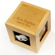 Engraved Our Little One Wood Photo Cube