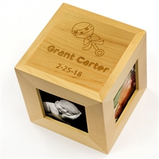 Engraved Sweetest Welcome Wood Photo Cube