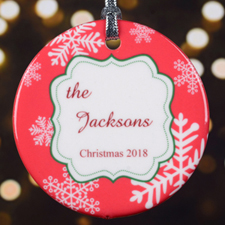 Personalized Christmas Red Snowflake Round Porcelain Ornament