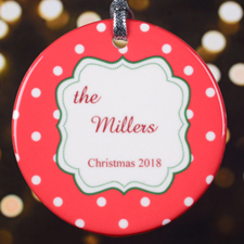 Personalized Christmas Red Polka Dot Round Porcelain Ornament