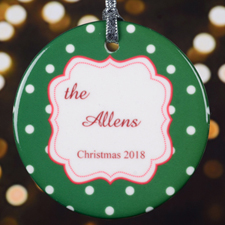 Personalized Christmas Green Polka Dot Round Porcelain Ornament